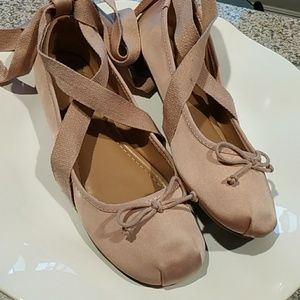 Pink satin ballet flats sz 9 great cond mossimo.